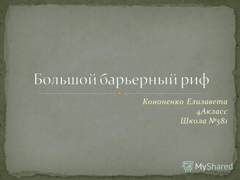 Кононенко Елизавета 4Акласс Школа 581
