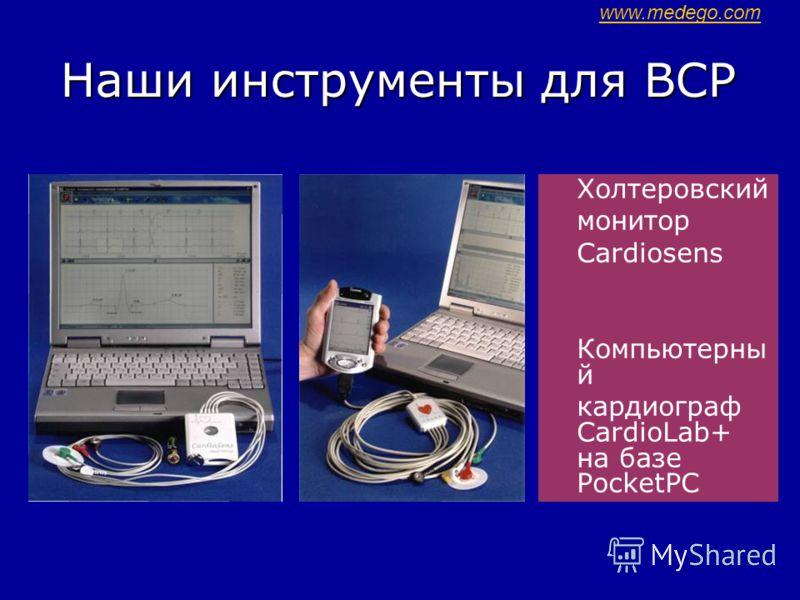 Наши инструменты для ВСР Холтеровский монитор Cardiosens Компьютерны й кардиограф CardioLab+ на базе PocketРC www.medego.com