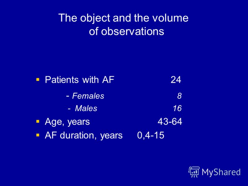 The object and the volume of observations Patients with AF 24 - Females 8 - Males 16 Age, years 43-64 AF duration, years 0,4-15