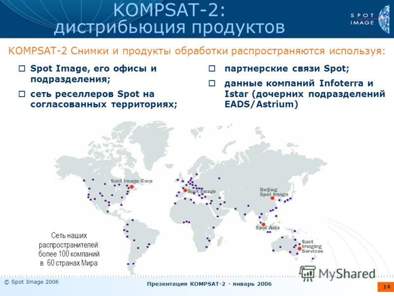 © Spot Image 2006 Презентация KOMPSAT-2 - январь 2006 14 KOMPSAT-2: дистрибьюция продуктов KOMPSAT-2 Снимки и продукты обработки распространяются используя: Сеть наших распространителей: более 100 компаний в 60 странах Мира Spot Image, его офисы и по