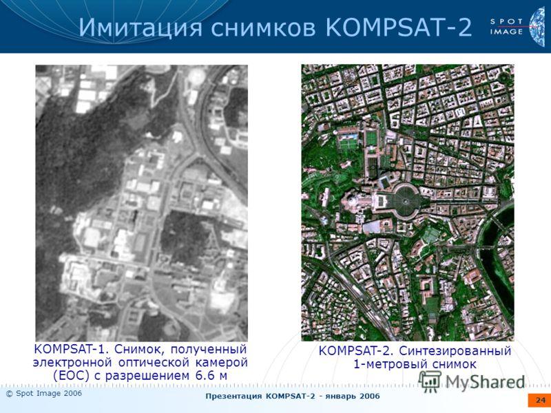 © Spot Image 2006 Презентация KOMPSAT-2 - январь 2006 24 Имитация снимков KOMPSAT-2 KOMPSAT-2. Синтезированный 1-метровый снимок KOMPSAT-1. Снимок, полученный электронной оптической камерой (EOC) с разрешением 6.6 м