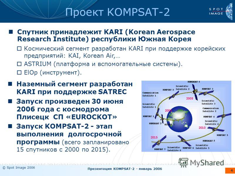 © Spot Image 2006 Презентация KOMPSAT-2 - январь 2006 4 Проект KOMPSAT-2 Спутник принадлежит KARI (Korean Aerospace Research Institute) республики Южная Корея Наземный сегмент разработан KARI при поддержке SATREC Запуск произведен 30 июня 2006 года с