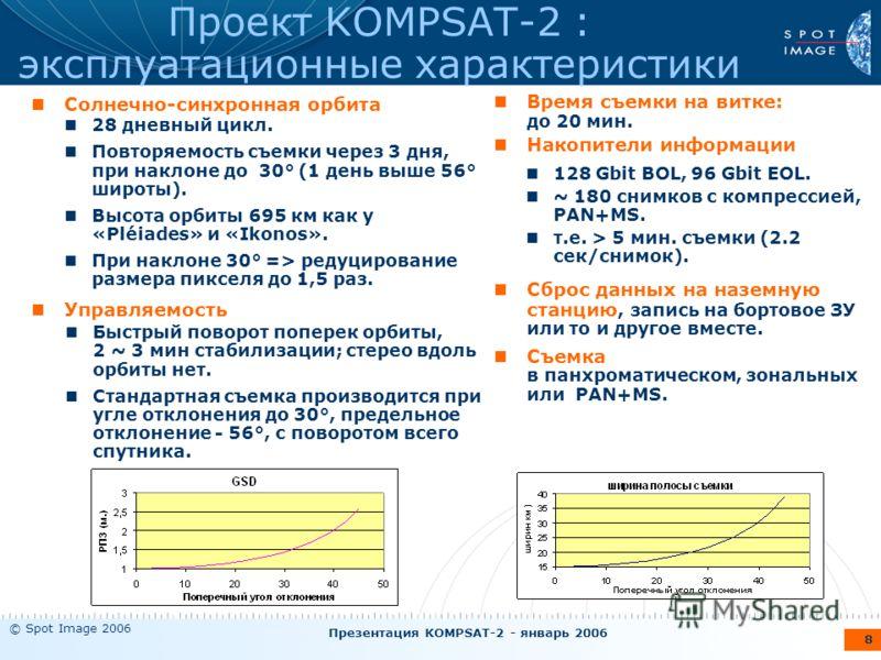 © Spot Image 2006 Презентация KOMPSAT-2 - январь 2006 8 Проект KOMPSAT-2 : эксплуатационные характеристики Солнечно-синхронная орбита Управляемость Время съемки на витке: до 20 мин. Накопители информации Сброс данных на наземную станцию, запись на бо