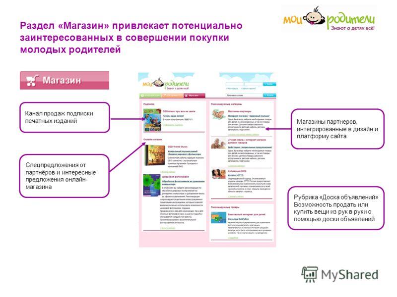 Раздел «Магазин» привлекает потенциально заинтересованных в совершении покупки молодых родителей Канал продаж подписки печатных изданий Магазины партнеров, интегрированные в дизайн и платформу сайта Спецпредложения от партнёров и интересные предложен