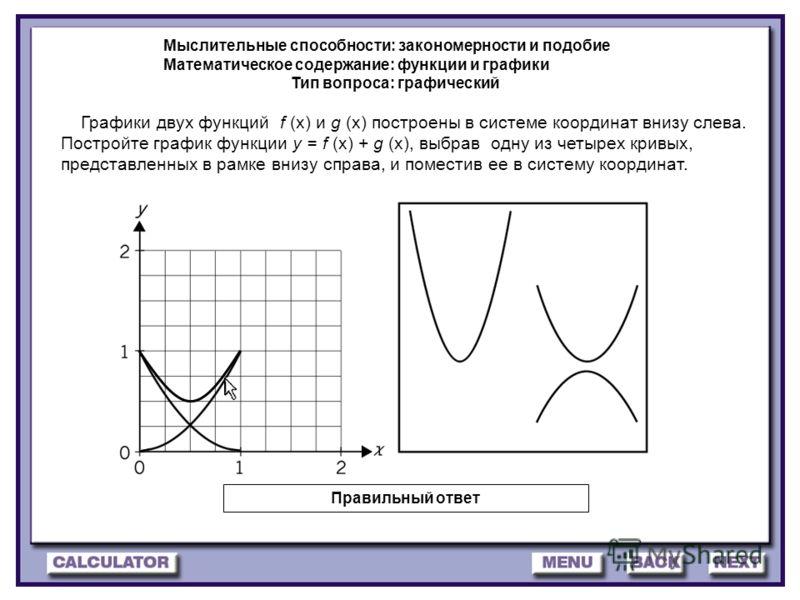 26 Графики двух функций f (x) и g (x) построены в системе координат внизу слева. Постройте график функции y = f (x) + g (x), выбрав одну из четырех кривых, представленных в рамке внизу справа, и поместив ее в систему координат. Мыслительные способнос