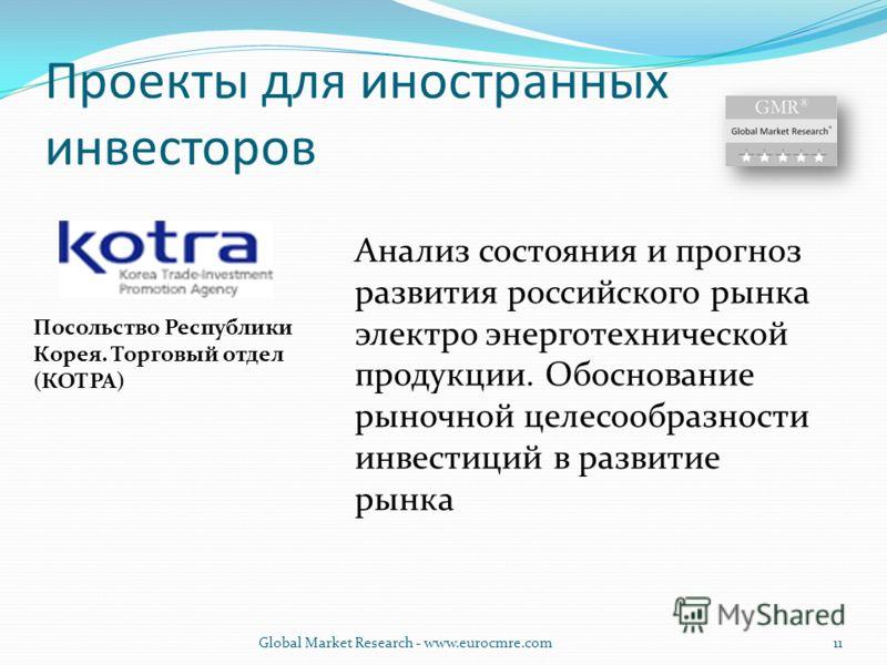 Проекты для иностранных инвесторов Посольство Республики Корея. Торговый отдел (КОТРА) Анализ состояния и прогноз развития российского рынка электро энерготехнической продукции. Обоснование рыночной целесообразности инвестиций в развитие рынка Global
