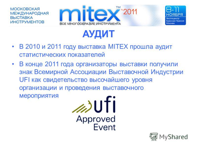 АУДИТ В 2010 и 2011 году выставка MITEX прошла аудит статистических показателей В конце 2011 года организаторы выставки получили знак Всемирной Ассоциации Выставочной Индустрии UFI как свидетельство высочайшего уровня организации и проведения выставо