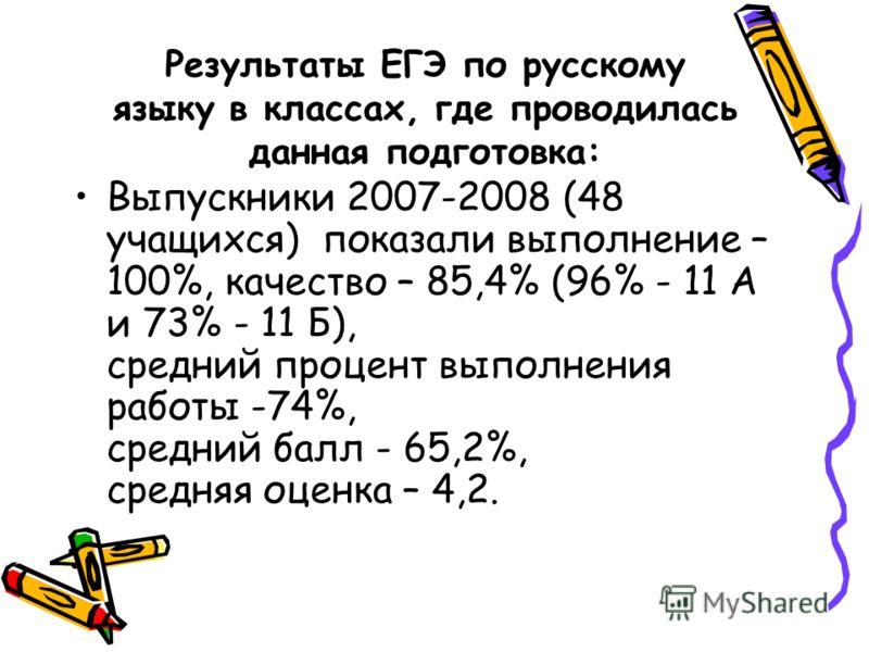 Результаты ЕГЭ по русскому языку в классах, где проводилась данная подготовка: Выпускники 2007-2008 (48 учащихся) показали выполнение – 100%, качество – 85,4% (96% - 11 А и 73% - 11 Б), средний процент выполнения работы -74%, средний балл - 65,2%, ср