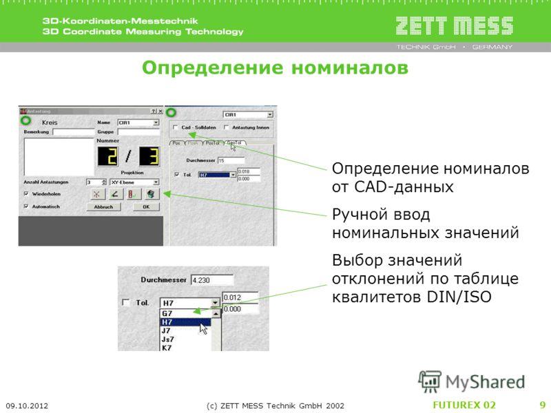 FUTUREX 02 22.07.2012 (c) ZETT MESS Technik GmbH 2002 9 Определение номиналов Определение номиналов от CAD-данных Ручной ввод номинальных значений Выбор значений отклонений по таблице квалитетов DIN/ISO