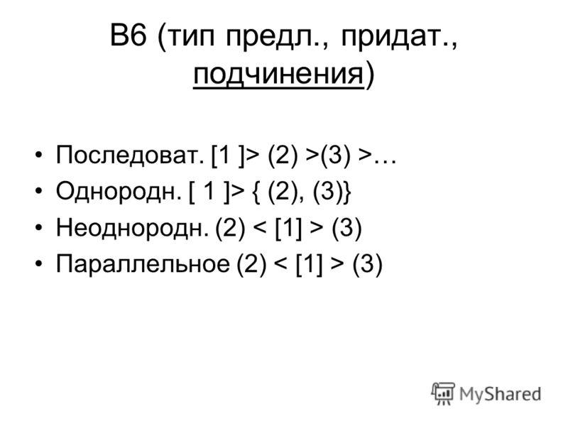 В6 (тип предл., придат., подчинения) Последоват. [1 ]> (2) >(3) >… Однородн. [ 1 ]> { (2), (3)} Неоднородн. (2) (3) Параллельное (2) (3)