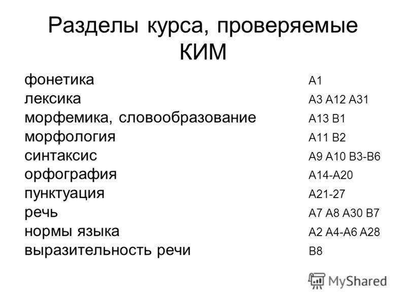 Разделы курса, проверяемые КИМ фонетика А1 лексика А3 А12 А31 морфемика, словообразование А13 В1 морфология А11 В2 синтаксис А9 А10 В3-В6 орфография А14-А20 пунктуация А21-27 речь А7 А8 А30 В7 нормы языка А2 А4-А6 А28 выразительность речи В8