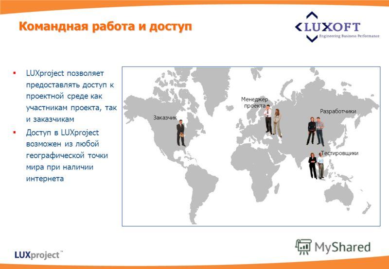 Руководитель проекта Аналитик Заказчик LUXproject позволяет предоставлять доступ к проектной среде как участникам проекта, так и заказчикам Доступ в LUXproject возможен из любой географической точки мира при наличии интернета Командная работа и досту