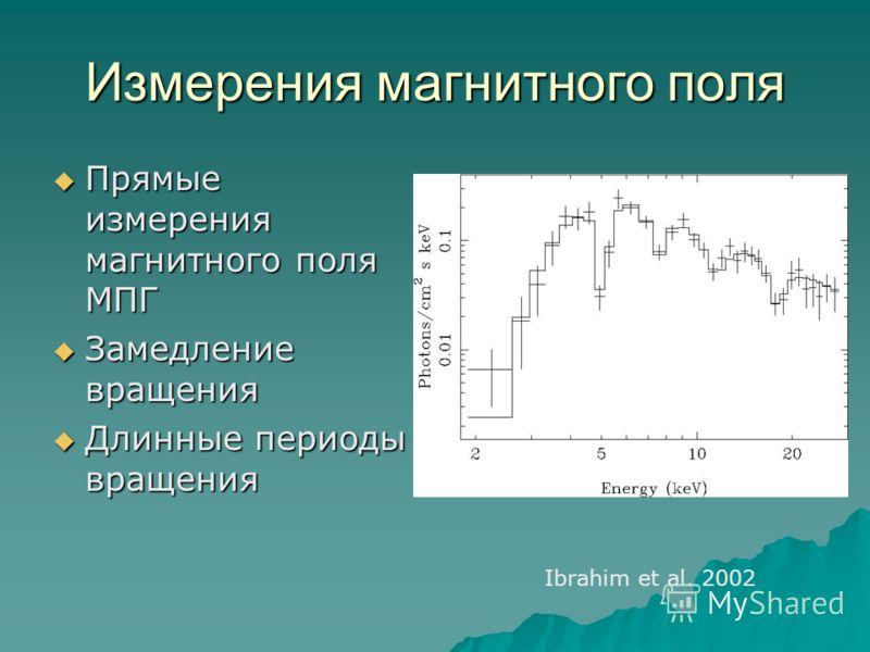 Измерения магнитного поля Прямые измерения магнитного поля МПГ Прямые измерения магнитного поля МПГ Замедление вращения Замедление вращения Длинные периоды вращения Длинные периоды вращения Ibrahim et al. 2002