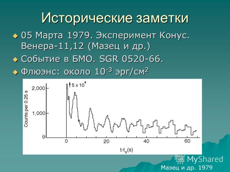 Исторические заметки 05 Марта 1979. Эксперимент Конус. Венера-11,12 (Мазец и др.) 05 Марта 1979. Эксперимент Конус. Венера-11,12 (Мазец и др.) Событие в БМО. SGR 0520-66. Событие в БМО. SGR 0520-66. Флюэнс: около 10 -3 эрг/см 2 Флюэнс: около 10 -3 эр