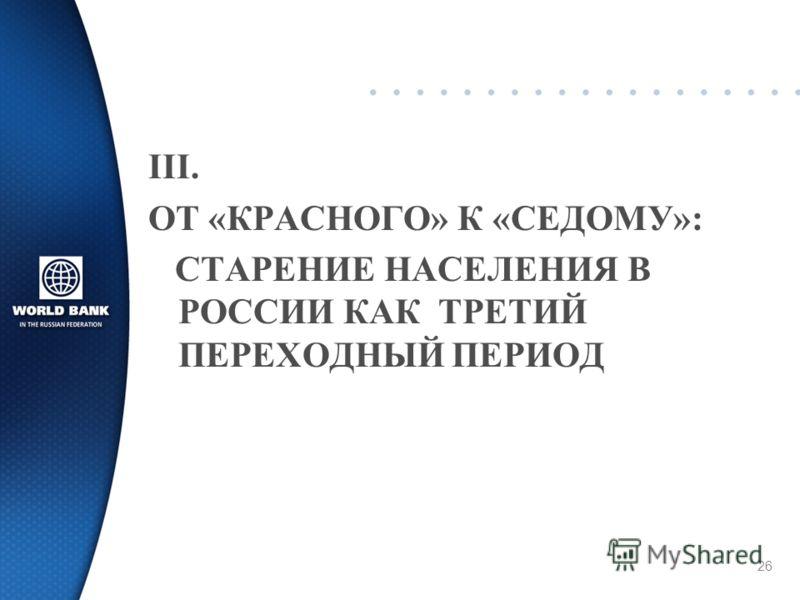 26 III. ОТ «КРАСНОГО» К «СЕДОМУ»: СТАРЕНИЕ НАСЕЛЕНИЯ В РОССИИ КАК ТРЕТИЙ ПЕРЕХОДНЫЙ ПЕРИОД