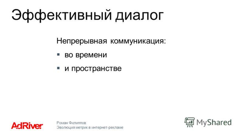 Роман Филиппов Эволюция метрик в интернет-рекламе Непрерывная коммуникация: во времени и пространстве Эффективный диалог