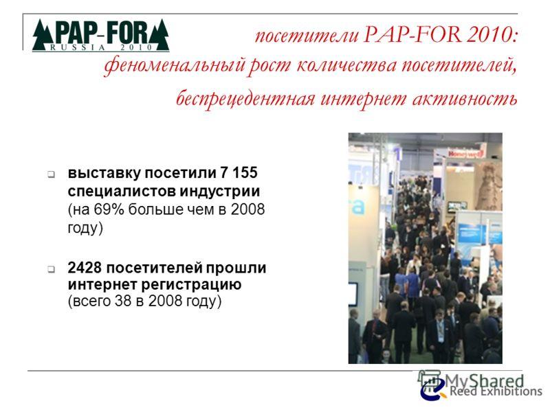 посетители PAP-FOR 2010: феноменальный рост количества посетителей, беспрецедентная интернет активность выставку посетили 7 155 специалистов индустрии (на 69% больше чем в 2008 году) 2428 посетителей прошли интернет регистрацию (всего 38 в 2008 году)