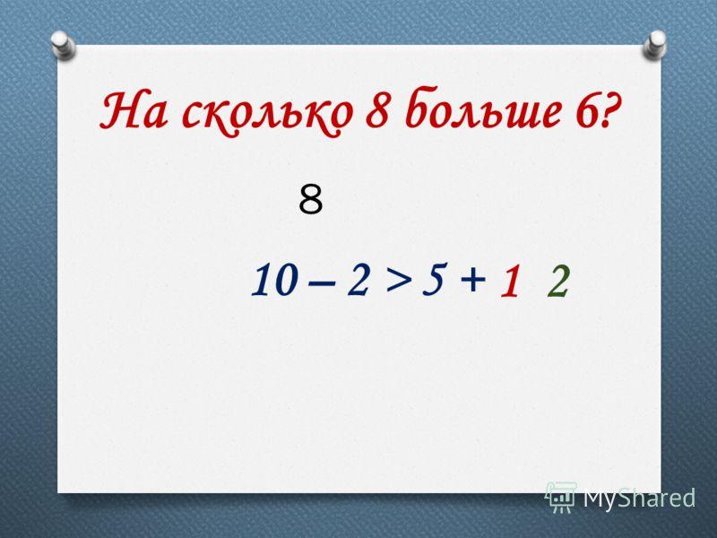 На сколько 8 больше 6? 10 – 2 > 5 + 12 8
