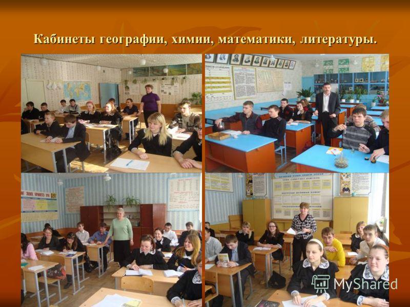 Кабинеты географии, химии, математики, литературы.
