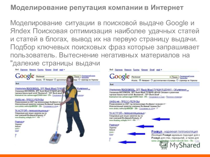 Моделирование репутация компании в Интернет Моделирование ситуации в поисковой выдаче Google и Яndex Поисковая оптимизация наиболее удачных статей и статей в блогах, вывод их на первую страницу выдачи. Подбор ключевых поисковых фраз которые запрашива