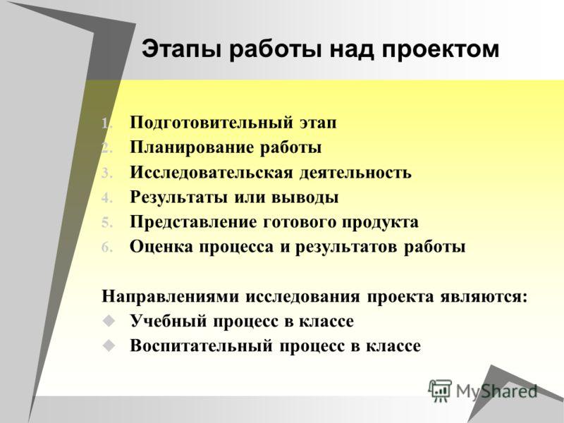 Этапы работы над проектом 1. Подготовительный этап 2. Планирование работы 3. Исследовательская деятельность 4. Результаты или выводы 5. Представление готового продукта 6. Оценка процесса и результатов работы Направлениями исследования проекта являютс