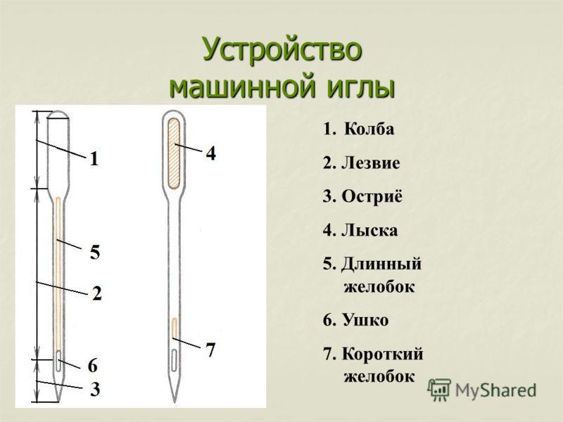 Устройство машинной иглы 1.Колба 2. Лезвие 3. Остриё 4. Лыска 5. Длинный желобок 6. Ушко 7. Короткий желобок
