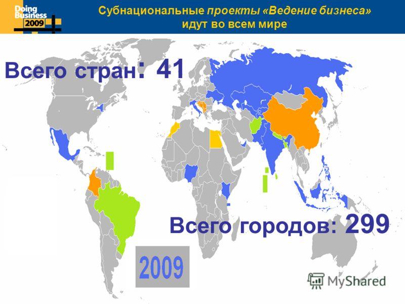 Click to edit Master title style Всего стран : 41 Всего городов: 299 Субнациональные проекты «Ведение бизнеса» идут во всем мире