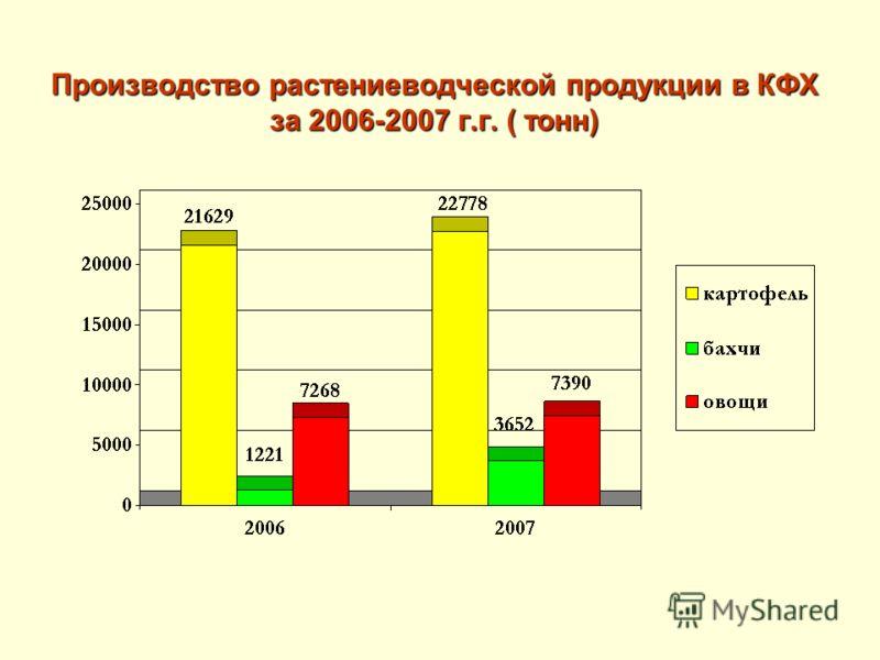 Производство растениеводческой продукции в КФХ за 2006-2007 г.г. ( тонн)