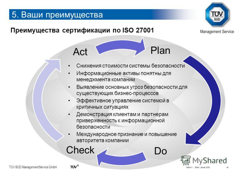 TÜV SÜD Management Service GmbH Plan Do Check Act Преимущества сертификации по ISO 27001 Снижения стоимости системы безопасности Информационные активы понятны для менеджмента компании Выявление основных угроз безопасности для существующих бизнес-проц
