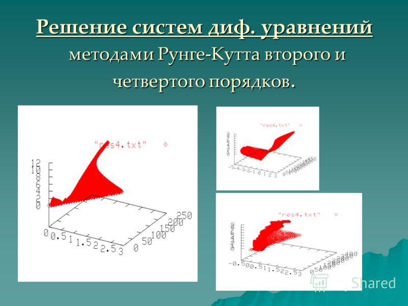 Решение систем диф. уравнений методами Рунге-Кутта второго и четвертого порядков.
