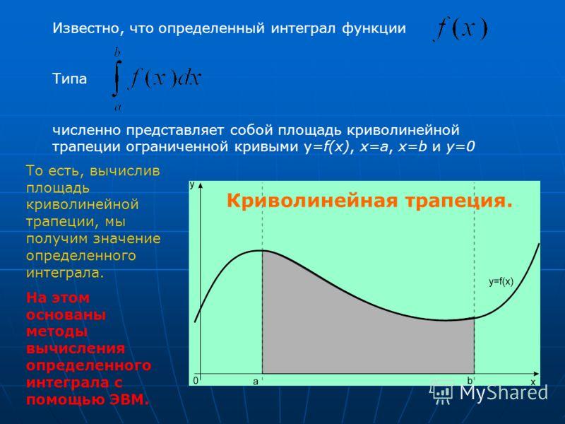Известно, что определенный интеграл функции Типа численно представляет собой площадь криволинейной трапеции ограниченной кривыми y=f(x), x=a, x=b и y=0 Криволинейная трапеция. То есть, вычислив площадь криволинейной трапеции, мы получим значение опре
