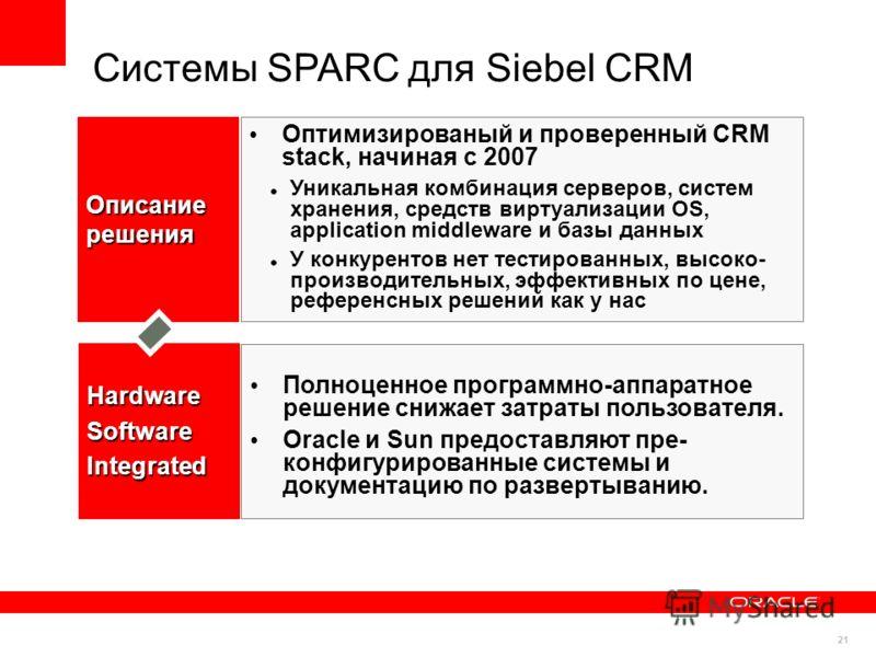 21 Системы SPARC для Siebel CRM Полноценное программно-аппаратное решение снижает затраты пользователя. Oracle и Sun предоставляют пре- конфигурированные системы и документацию по развертыванию. Оптимизированый и проверенный CRM stack, начиная с 2007