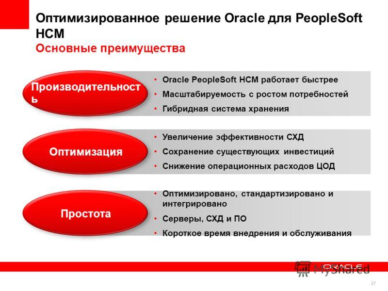27 Оптимизированное решение Oracle для PeopleSoft HCM Основные преимущества 27 Oracle PeopleSoft HCM работает быстрее Масштабируемость с ростом потребностей Гибридная система хранения Производительност ь Увеличение эффективности СХД Сохранение сущест