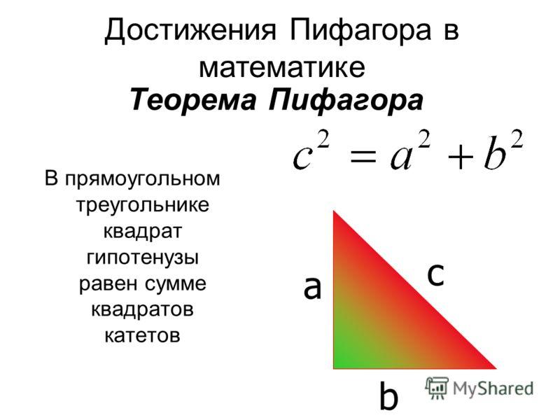 Теорема Пифагора В прямоугольном треугольнике квадрат гипотенузы равен сумме квадратов катетов c a b Достижения Пифагора в математике
