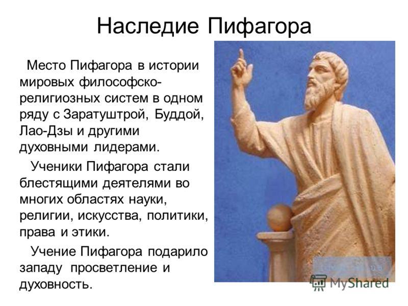Наследие Пифагора Место Пифагора в истории мировых философско- религиозных систем в одном ряду с Заратуштрой, Буддой, Лао-Дзы и другими духовными лидерами. Ученики Пифагора стали блестящими деятелями во многих областях науки, религии, искусства, поли