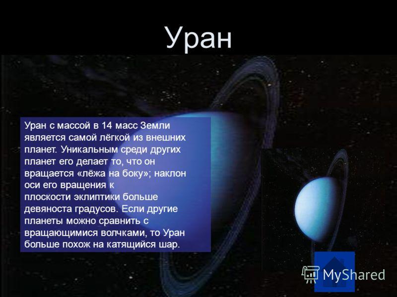 Уран Уран с массой в 14 масс Земли является самой лёгкой из внешних планет. Уникальным среди других планет его делает то, что он вращается «лёжа на боку»; наклон оси его вращения к плоскости эклиптики больше девяноста градусов. Если другие планеты мо
