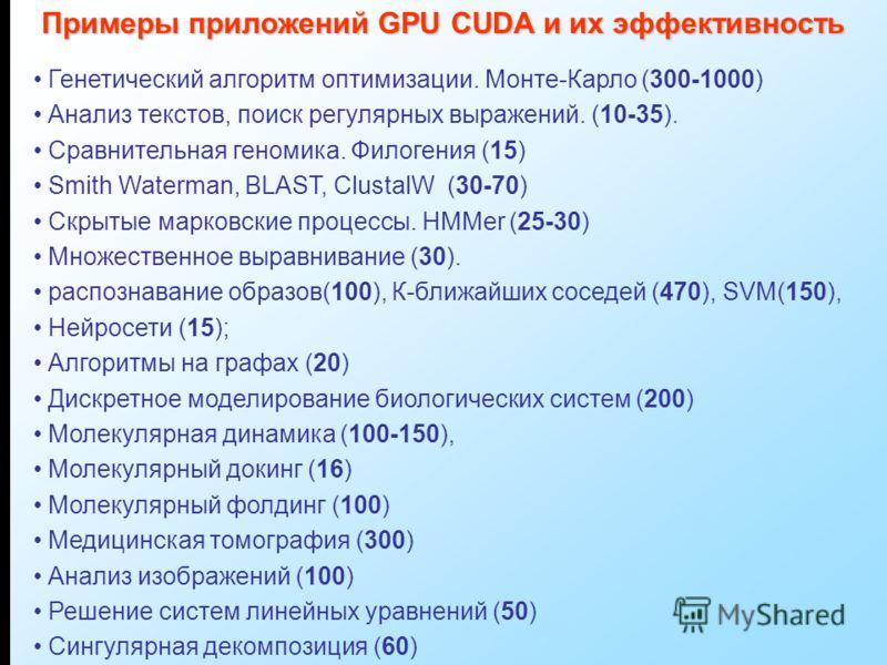Генетический алгоритм оптимизации. Монте-Карло (300-1000) Анализ текстов, поиск регулярных выражений. (10-35). Сравнительная геномика. Филогения (15) Smith Waterman, BLAST, ClustalW (30-70) Скрытые марковские процессы. HMMer (25-30) Множественное выр