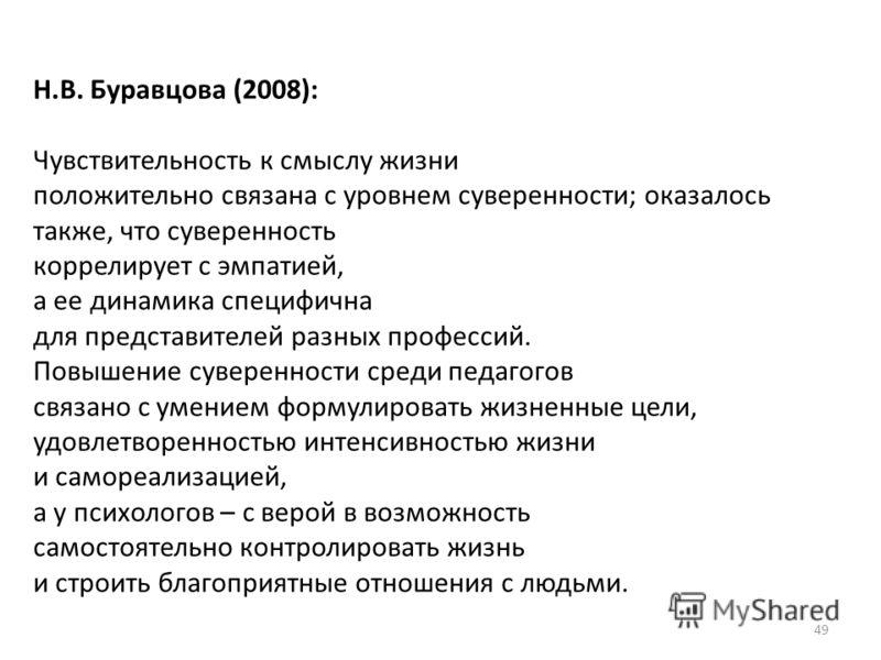 49 Н.В. Буравцова (2008): Чувствительность к смыслу жизни положительно связана с уровнем суверенности; оказалось также, что суверенность коррелирует с эмпатией, а ее динамика специфична для представителей разных профессий. Повышение суверенности сред