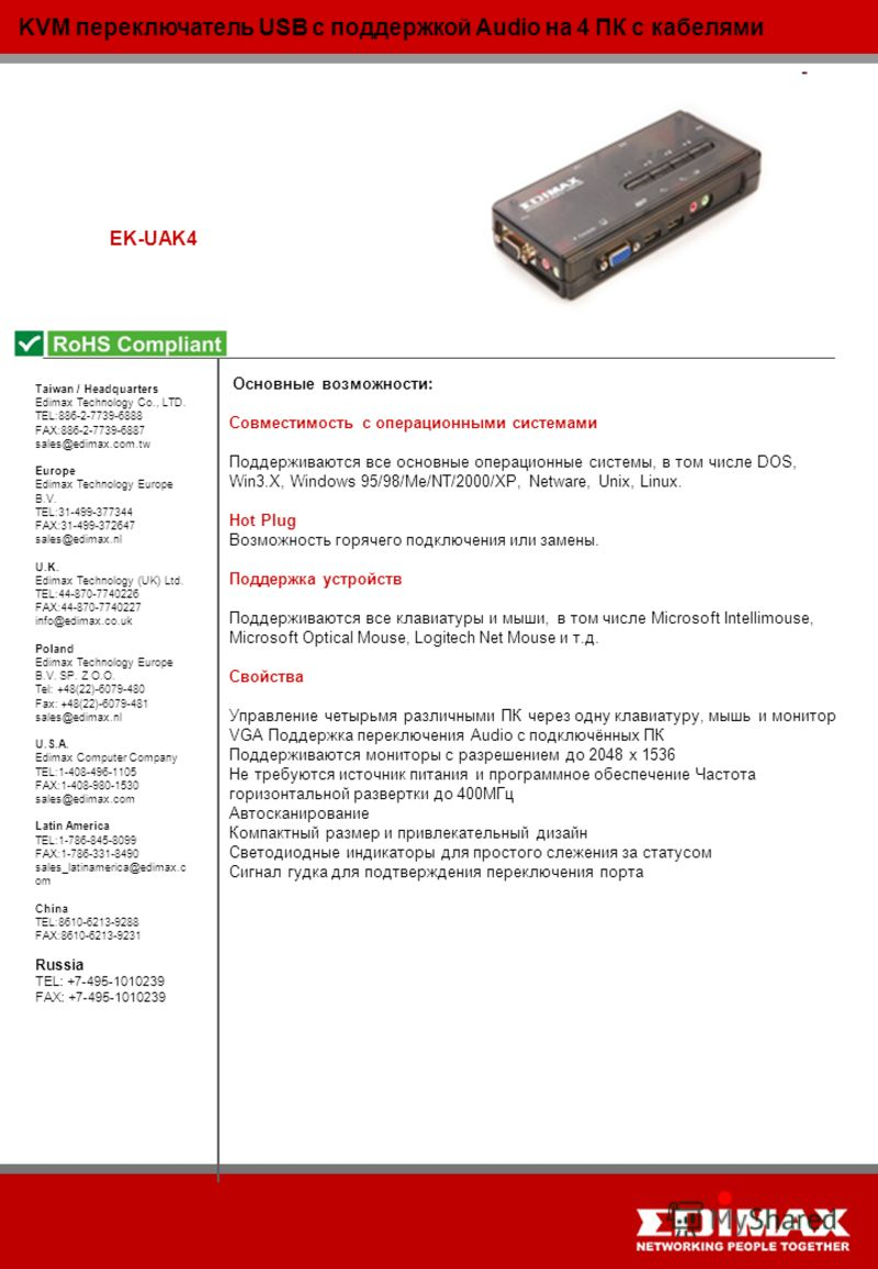 KVM переключатель USB с поддержкой Audio на 4 ПК с кабелями EK-UAK4 Taiwan / Headquarters Edimax Technology Co., LTD. TEL:886-2-7739-6888 FAX:886-2-7739-6887 sales@edimax.com.tw Europe Edimax Technology Europe B.V. TEL:31-499-377344 FAX:31-499-372647