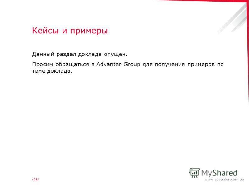 www.advanter.com.ua/25/ Кейсы и примеры Данный раздел доклада опущен. Просим обращаться в Advanter Group для получения примеров по теме доклада.
