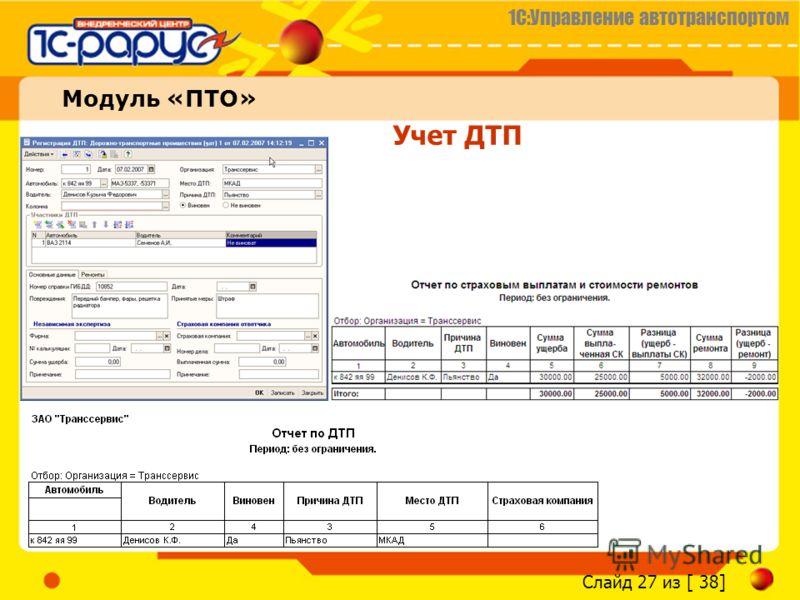 1С:Управление автотранспортом Слайд 27 из [ 38] Учет ДТП Модуль «ПТО»
