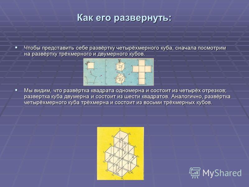 Как его развернуть: Чтобы представить себе развёртку четырёхмерного куба, сначала посмотрим на развёртку трёхмерного и двумерного кубов. Чтобы представить себе развёртку четырёхмерного куба, сначала посмотрим на развёртку трёхмерного и двумерного куб