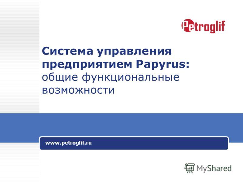 Система управления предприятием Papyrus: общие функциональные возможности www.petroglif.ru
