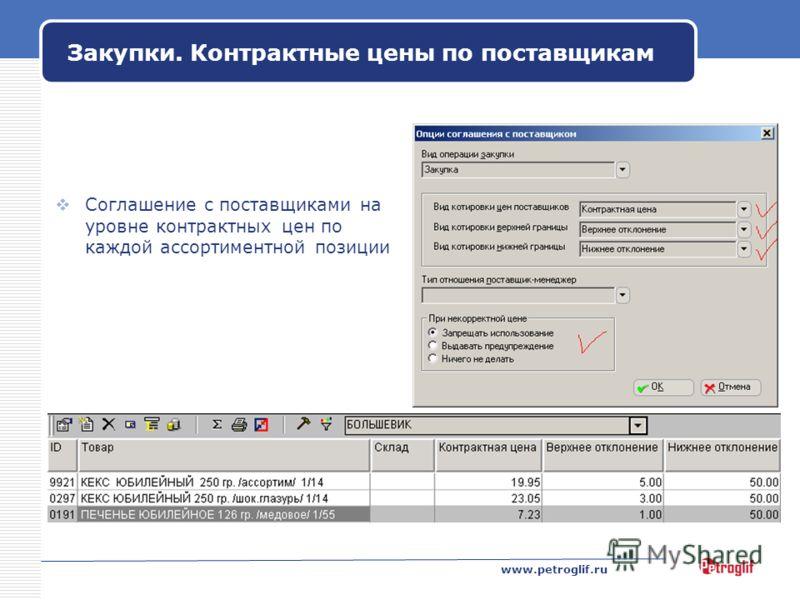 www.petroglif.ru Закупки. Контрактные цены по поставщикам Соглашение с поставщиками на уровне контрактных цен по каждой ассортиментной позиции