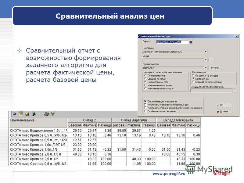 www.petroglif.ru Сравнительный анализ цен Сравнительный отчет с возможностью формирования заданного алгоритма для расчета фактической цены, расчета базовой цены