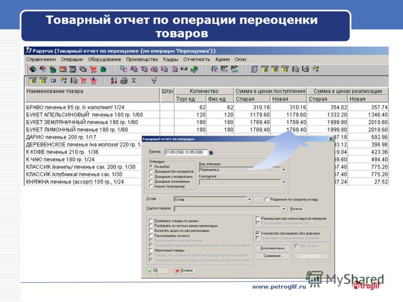 www.petroglif.ru Товарный отчет по операции переоценки товаров
