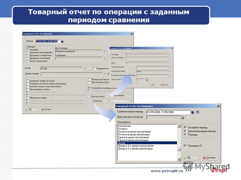 www.petroglif.ru Товарный отчет по операции с заданным периодом сравнения