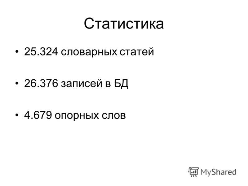Статистика 25.324 словарных статей 26.376 записей в БД 4.679 опорных слов