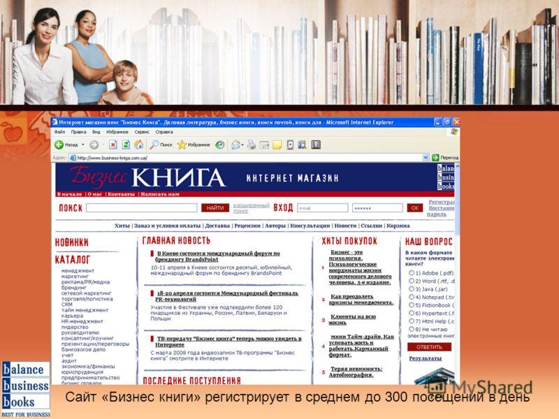 Сайт «Бизнес книги» регистрирует в среднем до 300 посещений в день