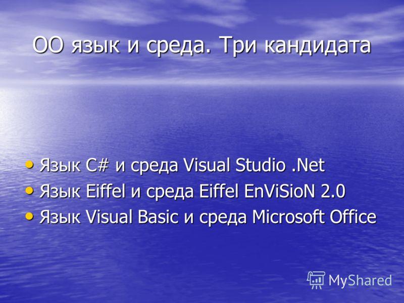 ОО язык и среда. Три кандидата Язык C# и среда Visual Studio.Net Язык C# и среда Visual Studio.Net Язык Eiffel и среда Eiffel EnViSioN 2.0 Язык Eiffel и среда Eiffel EnViSioN 2.0 Язык Visual Basic и среда Microsoft Office Язык Visual Basic и среда Mi